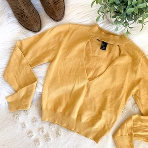 F21 Mustard Long Sleeve Crop Top